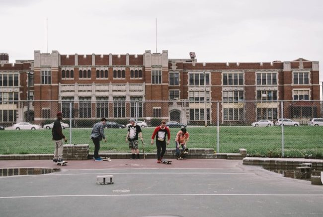 students on basketball court